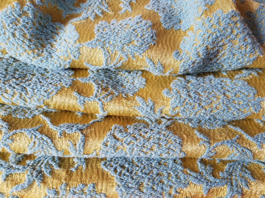 Vintage Damask Curtains, Gold and Aqua Matte Satin, 24