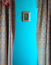 "Vintage Damask Curtains, Gold and Aqua Matte Satin, 24""w. at top x 38""w. at bottom x 68""l."