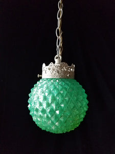 Aqua Pendant Light, Vintage Pressed Glass, Two Available