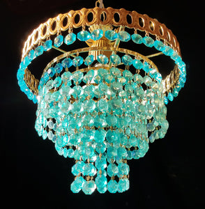 "Aqua Crystal Chandelier Lighting, 12"" h. x 12"" w., One of a Kind"