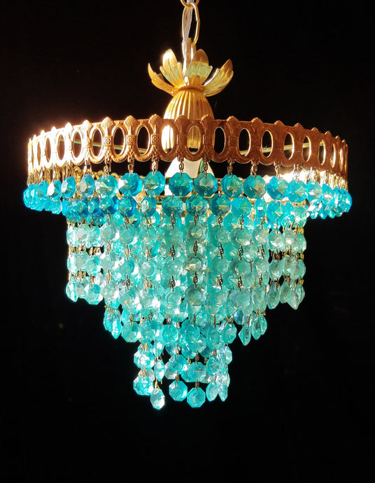 Aqua Crystal Chandelier Lighting, 12