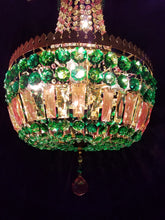 "Bohemian Crystal Chandelier, Empire Style in Autumn Colors, 15""w. x 26"" h."