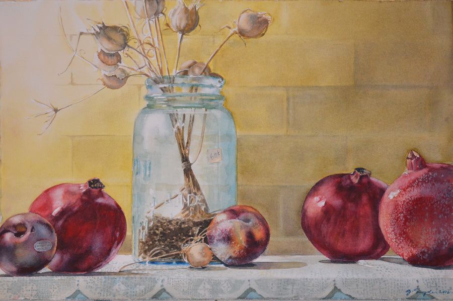 Watercolor Still Life, Original Painting,