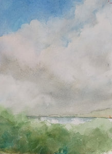"""Big Sky Over Lake"", Original Transparent Watercolor, 9""w. x 12""h."