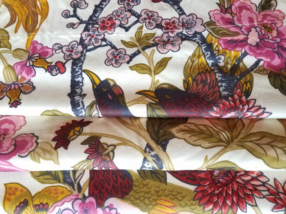Vintage English Floral Curtains, Bird of Paradise, Cotton Broadcloth, 54