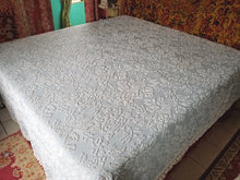 "Cotton Chenille Bedspread, Light Blue Hobnail with Pom Pom Trim, Queen, 103""w. x 120""l."