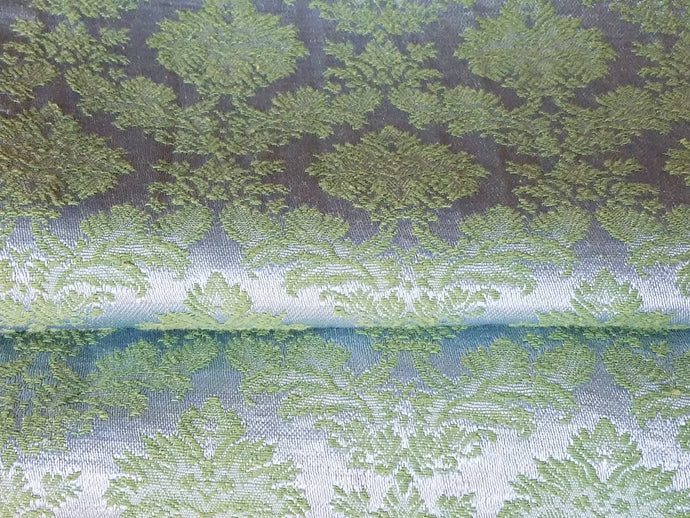 Vintage Blackout Curtains, Blue and Green Satin Brocade, 34