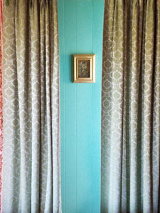 "Vintage Blackout Curtains, Blue and Green Satin Brocade, 34""w. at top x 55""w. at bottom x 63""l. with 3"" hem"