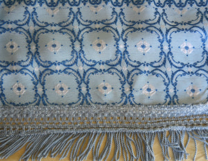 "Vintage Italian Bedspread, Blue-on-blue Rayon and Cotton, 97""l. x 87""w."