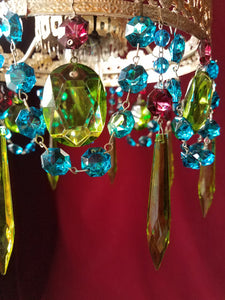"Bohemian Crystal Chandelier, Woodland Jewel and Silver, One of a Kind, 8""w. x 20""h"