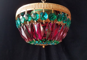 "Boho Flush Mount Chandelier, Jewel Tones, 10"" w. x 7""h."