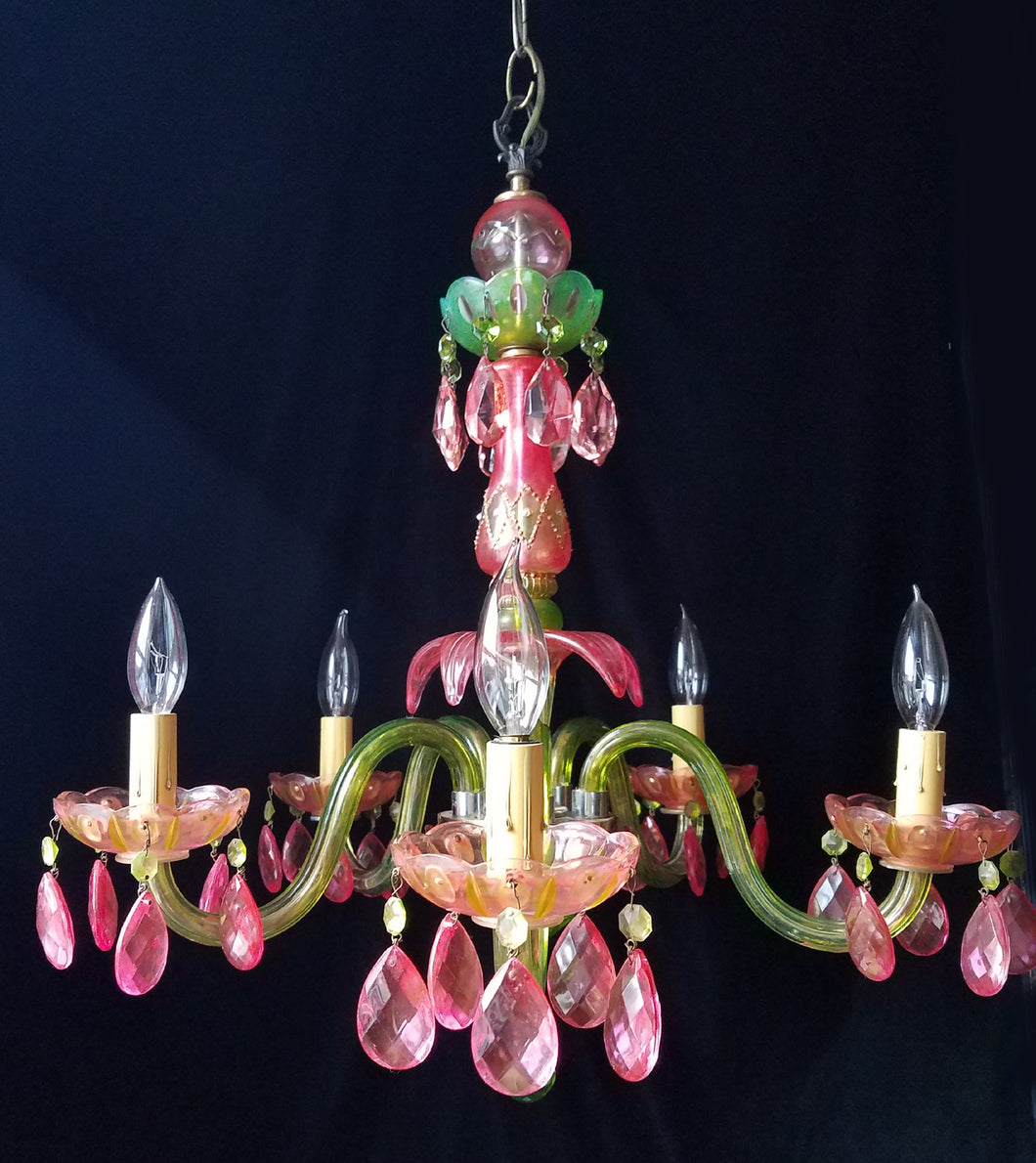 Crystal Chandelier Lighting, Pink and Green Jeweled, One of a Kind, 24