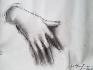 """Hand of the Sick Girl"", Charcoal on Newsprint"