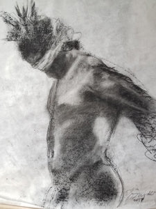 """Man Held Back"", Charcoal on White Paper"