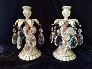 Candlestick Pair, Silver Gilt Cherubs and Crystal