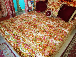 "Italian Velvet Bedspread or Wedding Blanket, Pre-WWII, Excellent Condition, Full/Queen, 87.5""l. x 98.5""w."