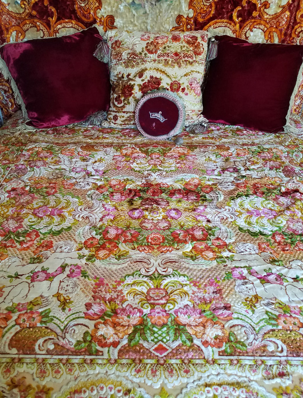 Italian Velvet Bedspread or Wedding Blanket, Pre-WWII, Excellent Condition, Full/Queen, 87.5