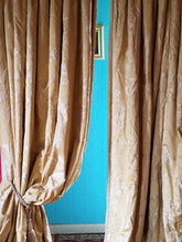 "Gold Brocade Curtains, Silk Dupioni, Oversized Pair, Excellent Condition, 30""w. at top x 88""w. at bottom x 122""l."