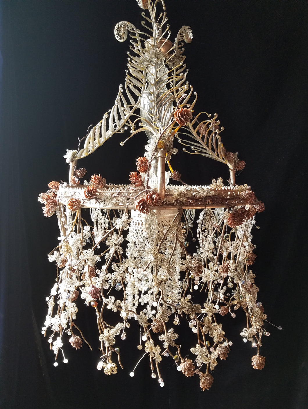 Beaded Chandelier Lighting, Vintage Flowers, Branches and Crystal, 15