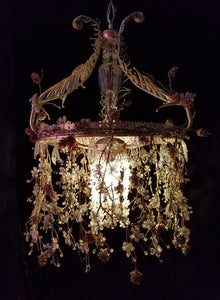 "Beaded Chandelier Lighting, Vintage Flowers, Branches and Crystal, 15""w. x 25""h."