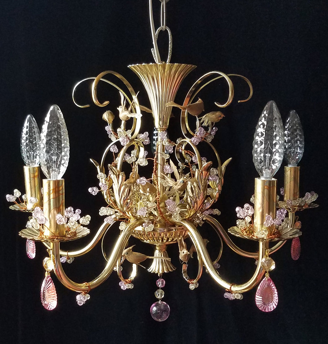 Vintage Birds and Berries Petite Chandelier Light Sculpture, Brass and Crystal, 18