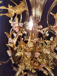 "Vintage Birds and Berries Petite Chandelier Light Sculpture, Brass and Crystal, 18""w. x 14""h."