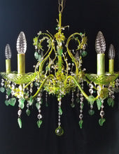 "Chandelier Lighting, Woodland Fairy Crystal and Brass, 25""h. x 24""w."