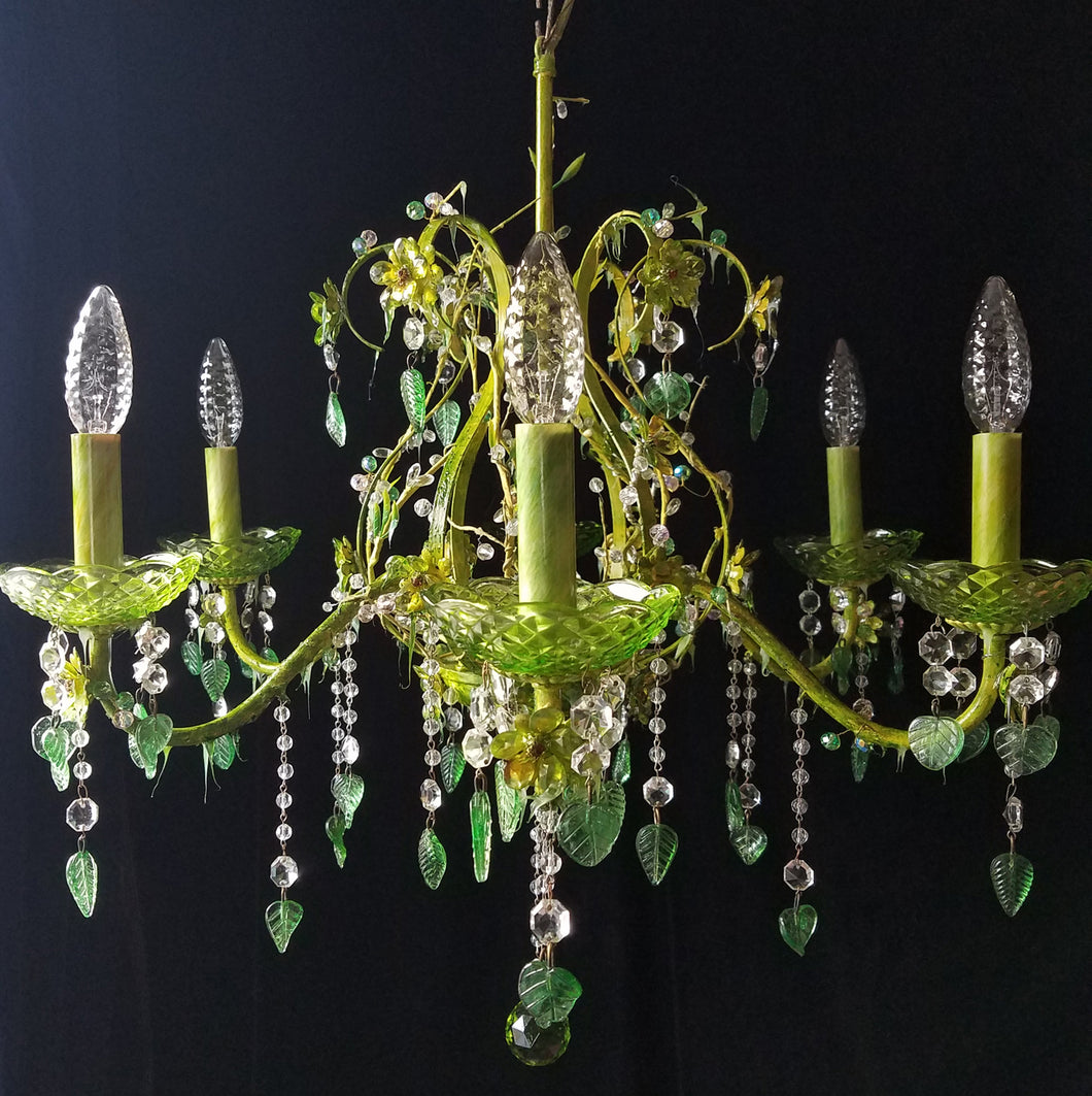 Chandelier Lighting, Woodland Fairy Crystal and Brass, 25