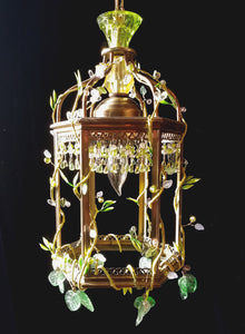 "Vintage Lantern Chandelier, Feral Series, Glass and Crystal, 14""h. x 7.5""w"