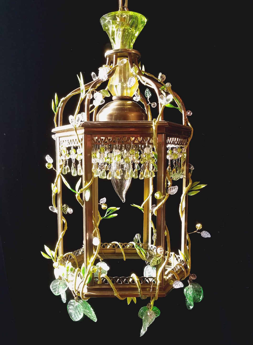 Vintage Lantern Chandelier, Feral Series, Glass and Crystal, 14