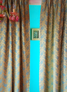 "Vintage Damask Curtains, Gold and Aqua Matte Satin, 24""w. at top x 40""w. at bottom x 68""l."