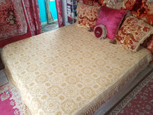 "Vintage Italian Bedspread, Gold and Ivory Brocade ""Bellissimo"" Collection, 86""w. x 104""l."