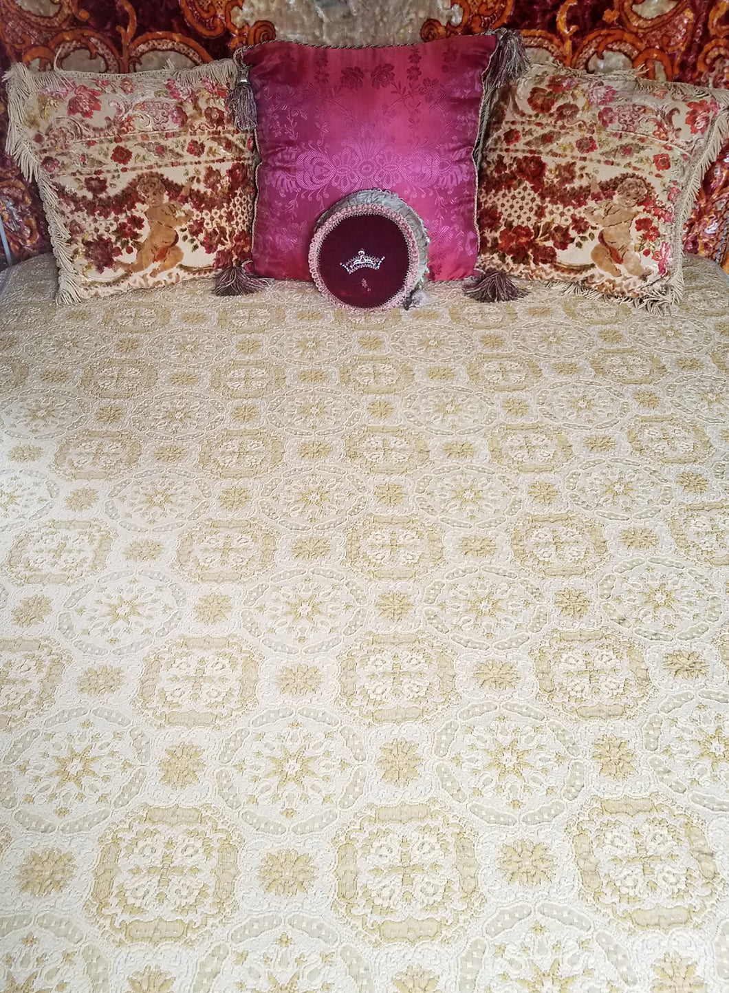 Vintage Italian Bedspread, Gold and Ivory Brocade