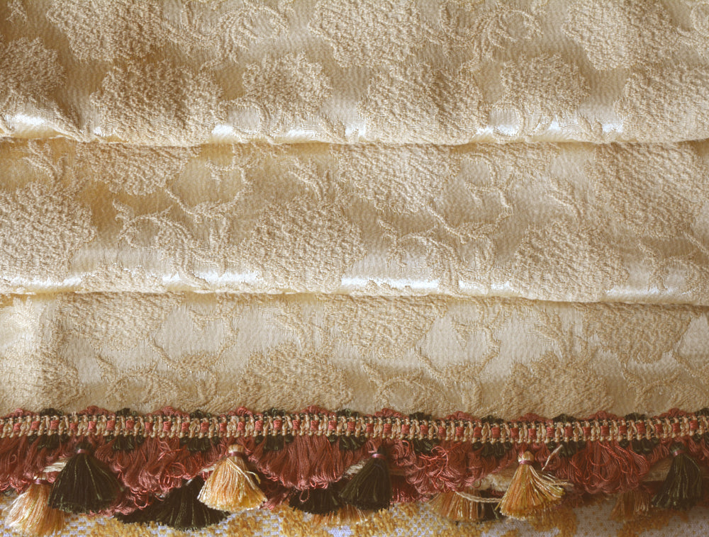 Vintage Curtains, Gold Brocade with Fancy Trim, Double Wide, 48