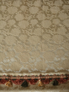 "Vintage Curtains, Gold Brocade with Fancy Trim, Double Wide, 48""w. at pinch pleat top x 82""w. at bottom x 80""l."