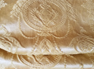 "Gold Damask Curtains, Heavy and Extra Wide, Matte Satin, 32""w. at top x 70""w. at bottom x 64"" - 68"" l."