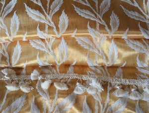 "Vintage Curtains, Gold and Cream Satin Damask, Fancy Trim,  19"" w. at pinch pleat top. x 38"" w., at bottom x 82"" l."