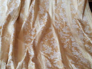 "Gold Brocade Blackout Curtains, Gold/Wheat Striped with Ivory Embroidery, 23""w. at top x 39""w. at bottom x 82""l."