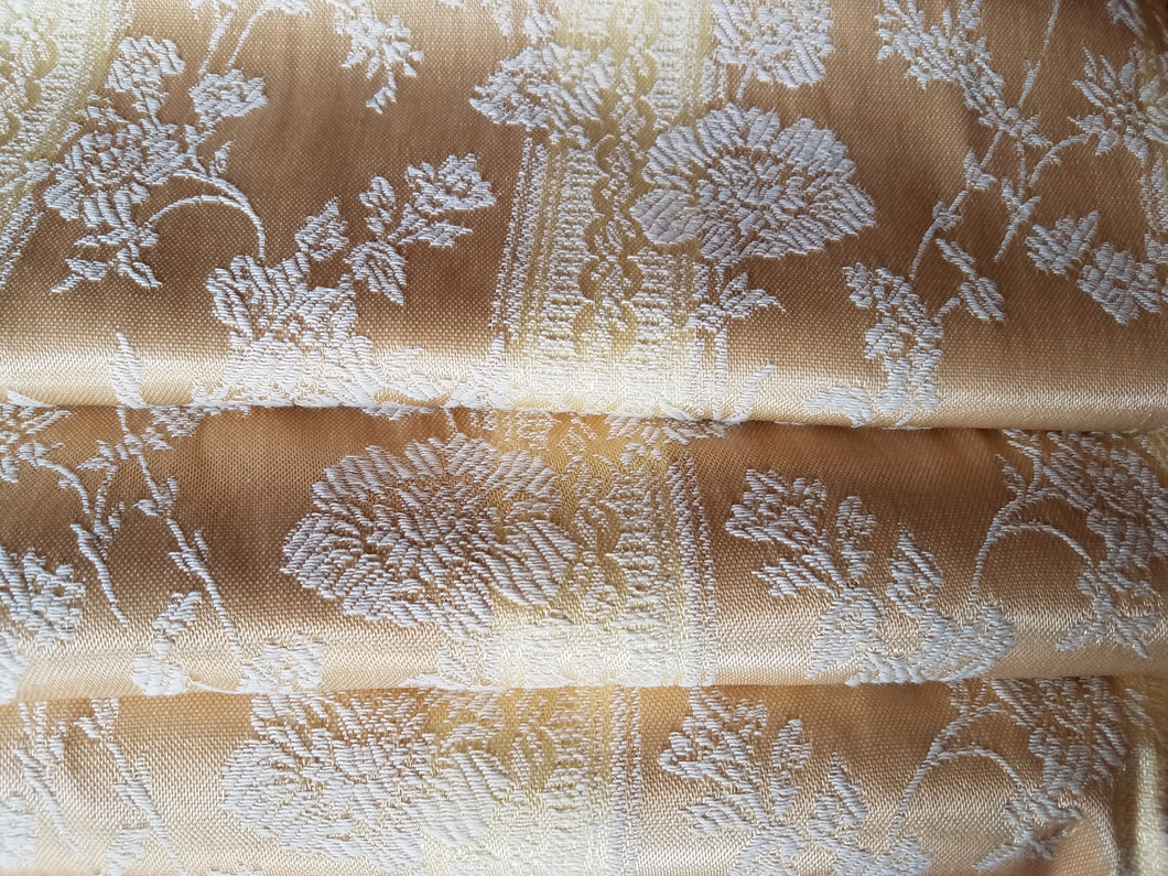 Gold Brocade Blackout Curtains, Gold/Wheat Striped with Ivory Embroidery, 23