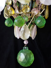 "Colored Crystal Chandelier Lighting, Opalescent Wedding Cake, 26""h. x 19.5"" w., One of a Kind"