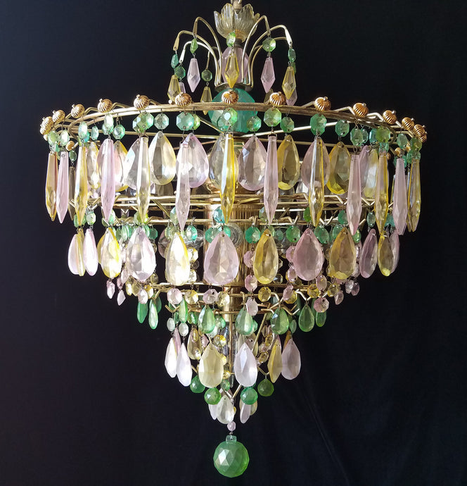 Colored Crystal Chandelier Lighting, Opalescent Wedding Cake, 26