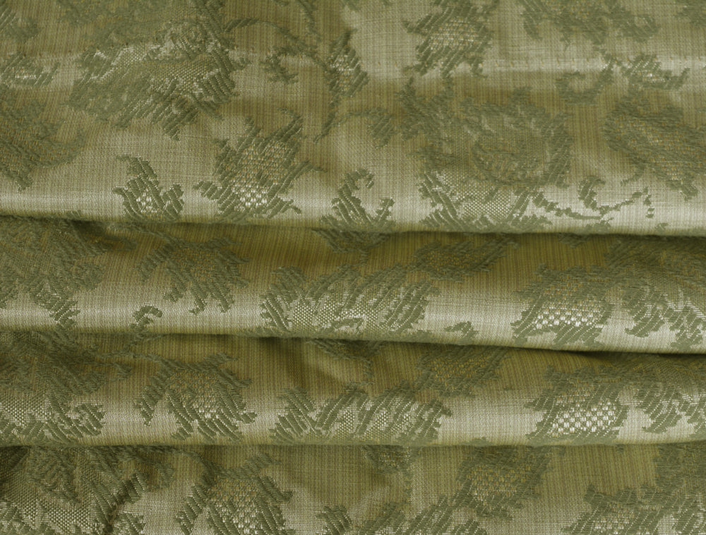 Vintage Blackout Curtains and Valances, Green Brocade, Triple Wide, Extra Long at 77