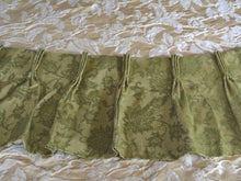 "Vintage Blackout Curtains and Valances, Green Brocade, Triple Wide, Extra Long at 77""w. at top x 120""w. at bottom x 90""l."