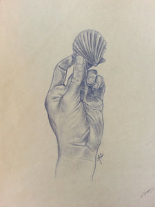 "Hand with Shell, Vintage Original Prismacolor Drawing, 11"" x 14"""