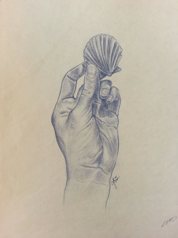 Hand with Shell, Vintage Original Prismacolor Drawing, 11