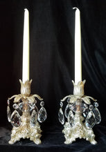 Candlestick Pair, Silver Gilt and Crystal