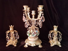 Candle Holder Centerpiece, Silver Gilt and Crystal
