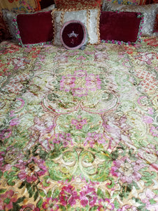 "Printed Velvet Bedspread, Italian, Muted Tones, 92""w. x 82""l."