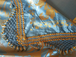 "Vintage Italian Bedspread, Aqua and Gold Silk, Reversible, King, 104""w. x 93""l., Excellent Condition"