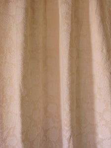"Vintage Curtains, Ivory Satin Damask, 24""w. at pinch pleat top x 39.5""w. at bottom x 55.5"" l."